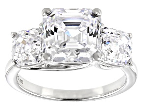 Pre-Owned Zirconia from Swarovski ® Imperial Mosaic Rhodium Over Sterling Silver Ring 10.47ctw