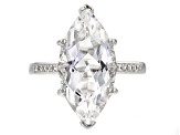 Pre-Owned White Crystal Quartz Rhodium Over Sterling Silver Ring 5.61ctw