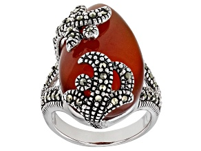 Pre-Owned Red onyx rhodium over sterling silver ring