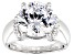 Pre-Owned Heritage Cut Zirconia From Swarovski ® Rhodium Over Sterling Silver Ring 12.15ctw