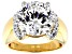 Pre-Owned Heritage Cut White Zirconia From Swarovski ® 18k Yellow Gold Over Sterling Silver Ring 12.