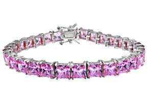Pre-Owned Bella Luce ® 27.35ctw Pink Diamond Simulant Sterling Silver Bracelet 7.25