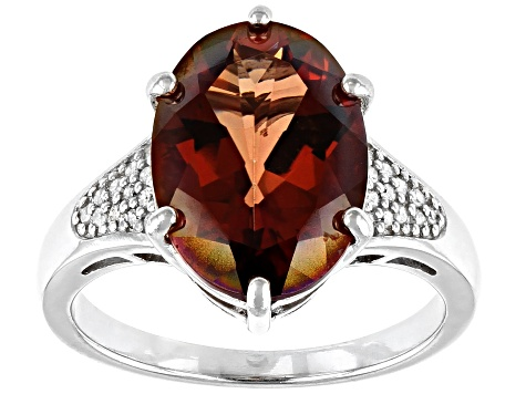 Pre-Owned Red Labradorite Rhodium Over Sterling Silver Ring 4.41ctw