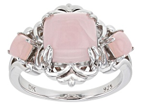 Pre-Owned Pink Opal Rhodium Over Silver Ring