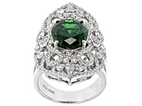 Pre-Owned Green & White Cubic Zirconia Rhodium Over Sterling Silver Ring 10.67ctw
