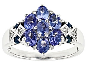 Pre-Owned Blue Tanzanite Rhodium Over Sterling Silver Ring 1.14ctw