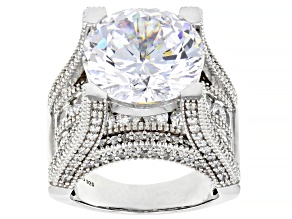 Pre-Owned White Cubic Zirconia Rhodium Over Sterling Silver Ring 22.65ctw