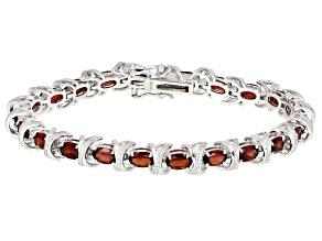 Pre-Owned Red garnet  rhodium over sterling silver bracelet 8.92ctw