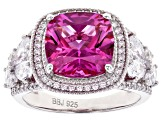 Pre-Owned Lab Created Pink Sapphire and White Cubic Zirconia Rhodium Over Sterling Silver Ring 8.21c