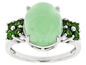 Pre-Owned Green Opal Sterling Silver Ring .56ctw