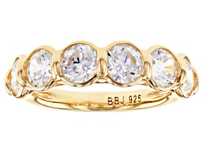 Pre-Owned White Cubic Zirconia 18k Yellow Gold Over Sterling Silver Ring 5.10ctw