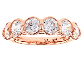 Pre-Owned Whie Cubic Zirconia 18k Rose Gold Over Sterling Silver Ring 5.10ctw