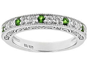 Pre-Owned Moissanite And Chrome Diopside Platineve Ring .30ctw DEW.