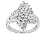 Pre-Owned White Cubic Zirconia Platinum Over Sterling Silver Ring 1.69ctw