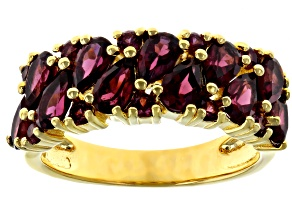 Pre-Owned Raspberry color rhodolite 18k yellow gold over silver ring 2.89ctw