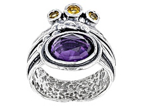 Pre-Owned Purple Amethyst Sterling Silver Ring 2.72ctw