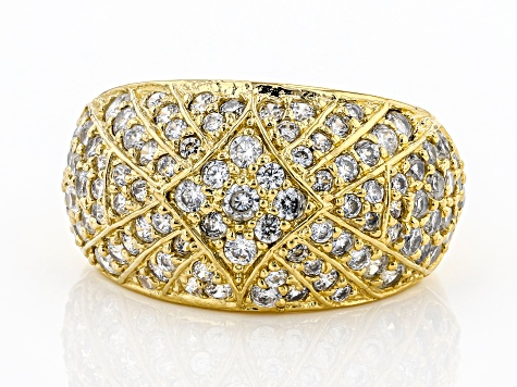 Pre-Owned White Cubic Zirconia 18K Yellow Gold Over Bronze Ring