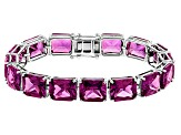 Pre-Owned Purple Lab Created Color Change Sapphire Silver Tennis Bracelet 93.07ctw