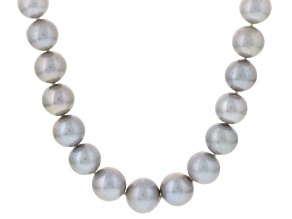 Pre-Owned Cultured Freshwater Pearl Rhodium Over Silver Strand Necklace 11-14mm