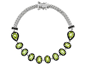 Pre-Owned Green peridot rhodium over silver bracelet 5.76ctw
