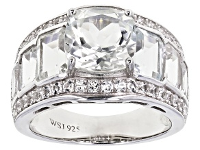Pre-Owned White Topaz Rhodium Over Sterling Silver Ring 7.35ctw