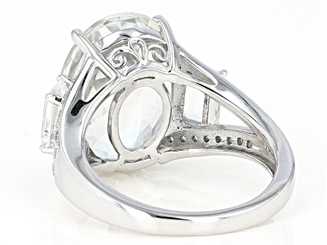 Pre-Owned White Topaz Rhodium Over Sterling Silver Ring 9.79ctw