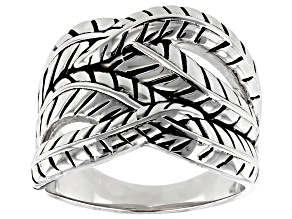 Pre-Owned Rhodium Over Sterling Silver Leaf Design Ring