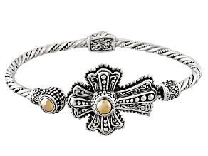 Pre-Owned Silver And 18k Gold Over Silver Cross Bracelet