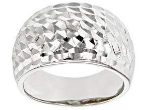 Pre-Owned Sterling Silver Hammered Wide Band Ring