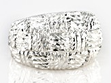 Pre-Owned Sterling Silver Diamond Cut Graduated Wide Band Ring