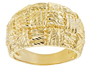 Pre-Owned 18K Yellow Gold Over Sterling Silver Diamond Cut Graduated Wide Band Ring