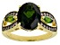 Pre-Owned Green chrome diopside 18k gold over silver ring 4.04ctw