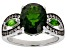 Pre-Owned Green chrome diopside rhodium over silver ring 4.04ctw