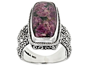 Pre-Owned Eudialyte Silver Solitaire Ring