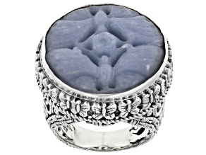 Pre-Owned Angelite Silver Butterfly Ring
