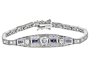 Pre-Owned Blue And White Cubic Zirconia Platineve Bracelet 6.94ctw