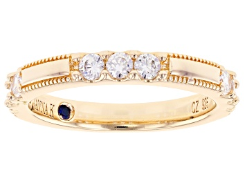 Picture of Pre-Owned White Cubic Zirconia 18K Yellow Gold Over Sterling Silver Band Ring 0.97ctw