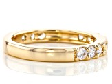 Pre-Owned White Cubic Zirconia 18K Yellow Gold Over Sterling Silver Band Ring 0.97ctw