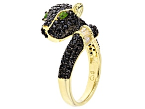 Pre-Owned Black spinel 18k gold over silver panther ring 1.82ctw