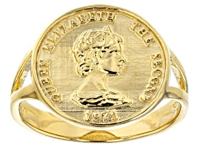 Pre-Owned 18k Gold Over Silver Coin Replica Ring