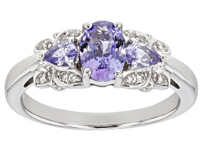 Pre-Owned Blue tanzanite rhodium over silver ring .99ctw