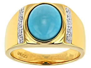 Pre-Owned Blue Turquoise 18k yellow gold over silver gent's ring