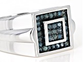 Pre-Owned Blue Diamond Rhodium Over Sterling Silver Gents Ring 0.38ctw