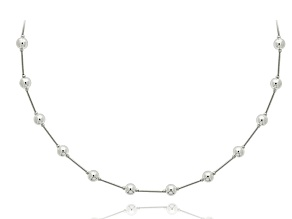 Pre-Owned Sterling Silver Bead Station Necklace 18 inch