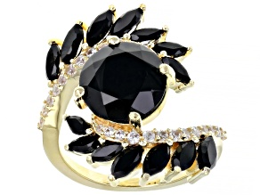 Pre-Owned Black spinel 18K gold over silver bypass ring 5.47ctw