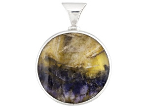 Pre-Owned Bluejohn Fluorite And Whitby Jet 34mm Round Cabochon Sterling Silver Pendant