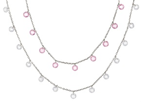 Pre-Owned Pink & White Cubic Zirconia Rhodium Over Sterling Silver Necklace 18.90ctw