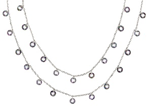 Pre-Owned Multicolor Cubic Zirconia Rhodium Over Sterling Silver Necklace 18.90ctw