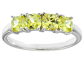 Pre-Owned Bella Luce® 2ctw Cushion Yellow Diamond Simulant Sterling Silver 4 Stone Ring
