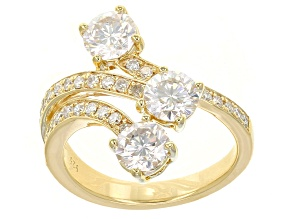 Pre-Owned Moissanite Ring 14y Yellow Gold Over Silver 1.83ctw DEW